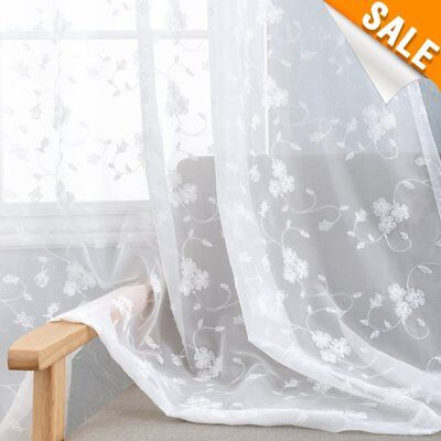 Floral Embroidered White Sheer Curtains for Living Room 84 inch Length Rustic for sale  USA