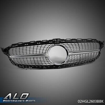 For 15-18 BENZ C Class W205 C200 C250 C300 Front Diamond Grille With Camera Hole
