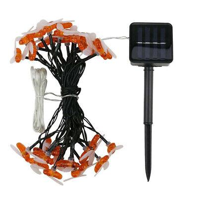 30 LED Solar Power String Honey Bee Shape Warm Light Garden Decor (Bee Raincoat)