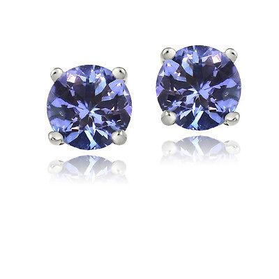 925 Sterling Silver 1ct Tanzanite Round 5mm Stud Earrings
