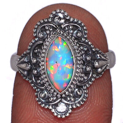 Bali Design - Fire Opal 925 Sterling Silver Ring Jewelry s.6.5 AR145757 Sterling Silver Bali Design