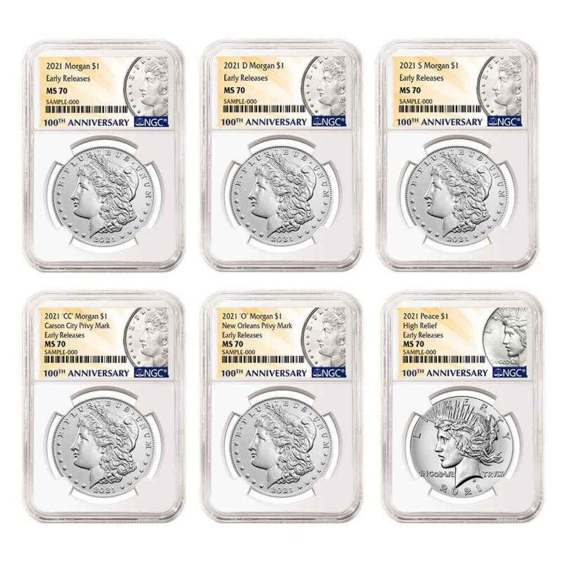 Presale - 2021 $1 Morgan and Peace Silver Dollar 6pc Set NGC MS70 ER 100th Anniv