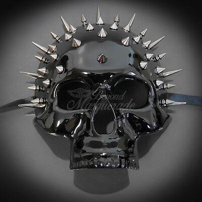Steampunk Skull Theater Masquerade Mask for Men - Black Spike (M31170)