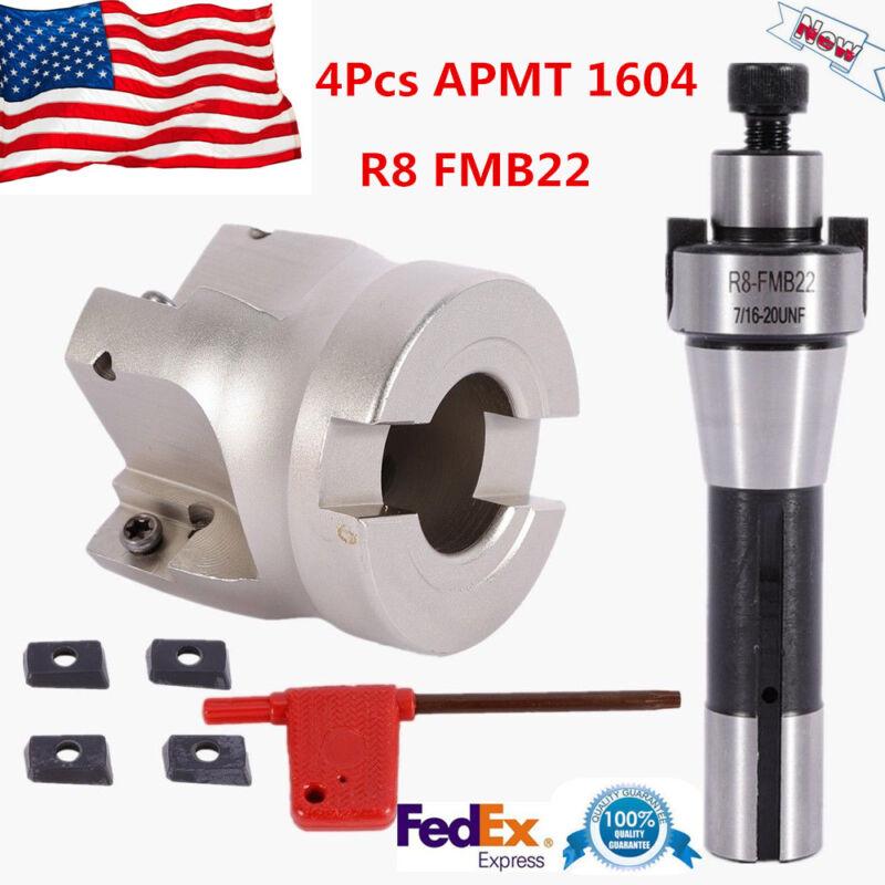 4Pcs APMT1604 Carbide Inserts + R8 FMB22 Arbor + 400R 50MM Face End Mill Cutter