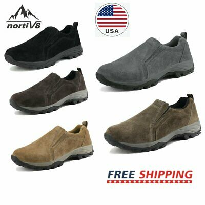NORTIV 8 Men's Casual Slip On Hiking Shoes Leather Outdoor Walking Sneakers Hiking Walking Shoes