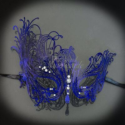 Dark Blue Swan Light Metal Filigree Venetian Masquerade Mask for Women