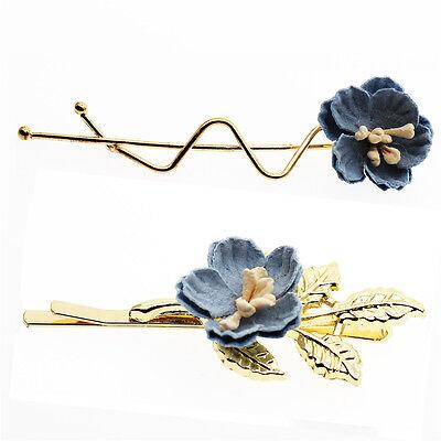 Paar Toll Blaue Blumen Damen Mädchen Slip Haarspange Stifte für Hochzeit HA282