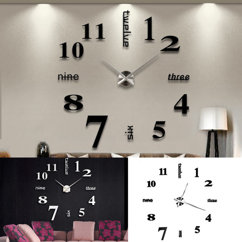 Bedroom Wall Clock Design : Large d design wall clock luxury mirror home decoration
