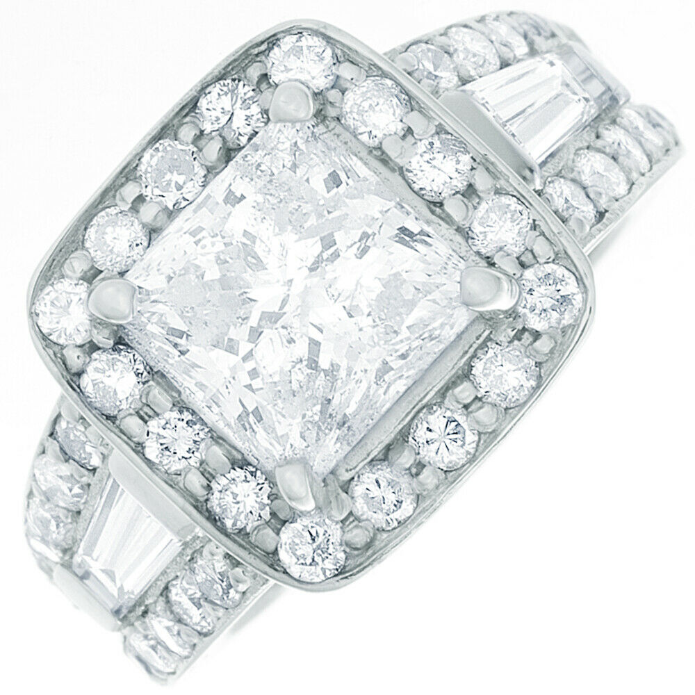 GIA Certified Diamond Engagement Ring 2.78 Ct Princess, Round and Baguette 18k