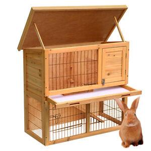 Wooden Rabbit Guinea Pig Ferret Hutch Run 2 Tier Pet House Chicken Coop Cage