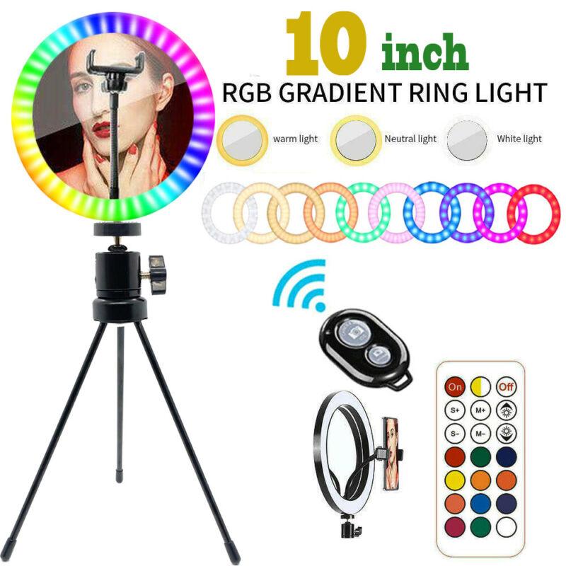 "10"" RGB LED Ring Light Selfie Stick w/ Tripod Stand for Tiktok Video Live Stream"