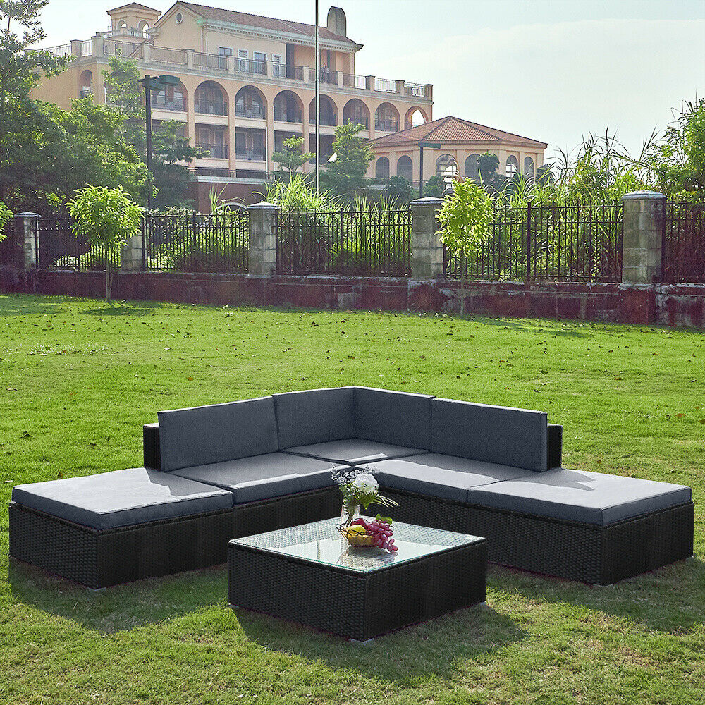 Garden Furniture - 6 Seaters Rattan Corner Sofa Furniture w/ Cushion Table Wicker Garden Patio