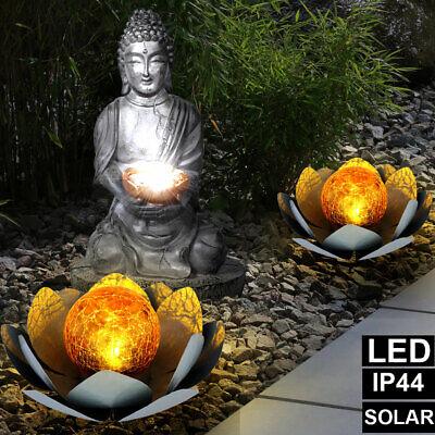 3x LED Solar Exterior Lámparas Buda Feng-Shui Lotos Flores Deco Jardín Luces