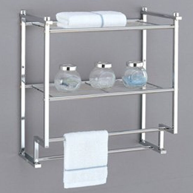 oia chrome 2 tier wall mounting rack shelf w/ towel bars | ebay