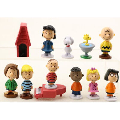 Set Of 12 Peanuts Charlie Brown Snoopy Figure Cake Topper Kid Doll Gift Toys US