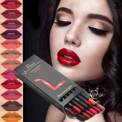 12 Pcs Women Lipstick Pen Matte Long Lasting Waterproof Lip Gloss Lip Liner Set