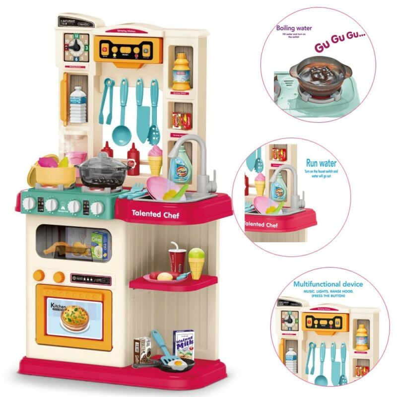 Role Play Kids Kitchen Playset With Real Cooking Spray And W