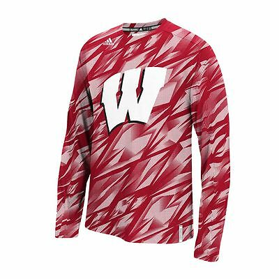 Wisconsin Badgers Adidas Climalite Shock Energy Training Crew Fleece Shirt Mens