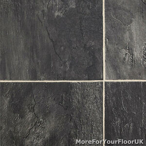 Thick vinyl flooring realistic stone effect lino for Black tile effect lino