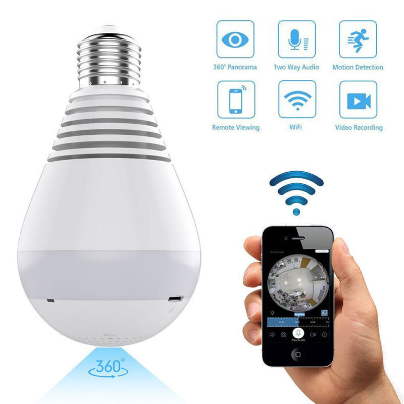 HD 1080P 360 Panoramic Hidden Wifi IP Camera Light Bulb Home