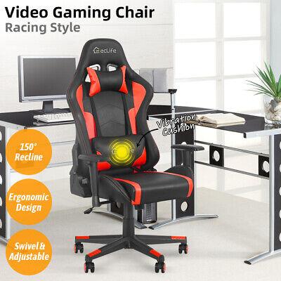 Gaming Racing Chair Office Chair Computer Desk High Back Lumbar Massage Support