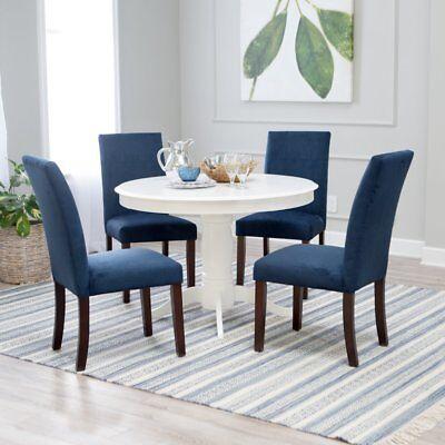 Dining Room Upholstered Pedestal - 5 Piece Blue Upholstered Seating Pedestal White Dining Room Table Set Home