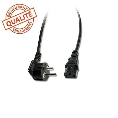 Cable d'alimentation secteur coudé pour ordinateur/PC/imprimante long.2,5 mètres d'occasion  Expédié en Belgium