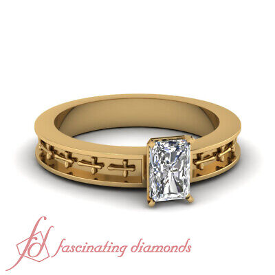 3/4 Ct Radiant Cut Diamond Vintage Yellow Gold Engagement Rings GIA Certified
