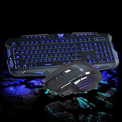 3 Color Illuminated LED Backlight Wired USB Ergonomic Gaming Keyboard Mouse Set