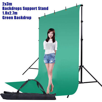 Photo Screen Chromakey Green Muslin Backdrop Studio Background Support Stand Kit ()