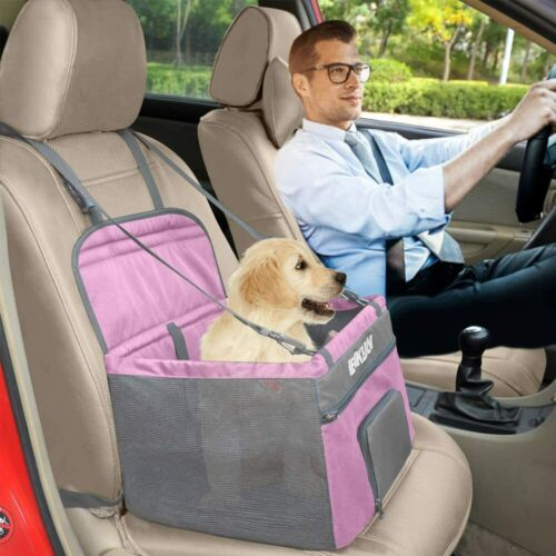 Henkelion Pet Dog Booster Seat, Deluxe Pet Car Seat for Small & Medium Dogs PinK