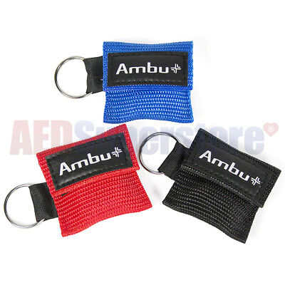 (BLACK Ambu Res-Cue Key MINI CPR Keychain Mask / Face Shield Barrier Kit)