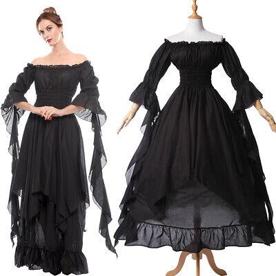 Medieval Renaissance Black Long Off Shoulder Boho Gown Dress Nightwear US SHIP