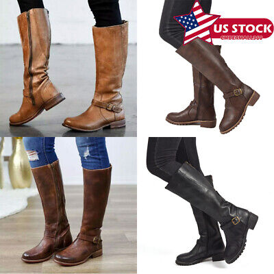 US Womens Ladies Knee High Wide-Calf Buckle Detail Zip Up Boots Shoes Size -
