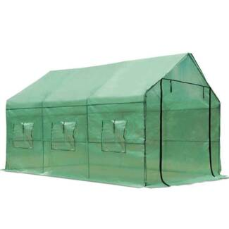 Garden Walk In Greenhouse PE Cover Plant House Decks Shed Green