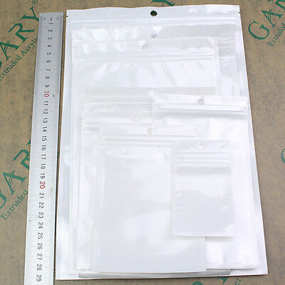100 White Clear Resealable Zip Lock Plastic Retail Seal Package Packing Poly Bag