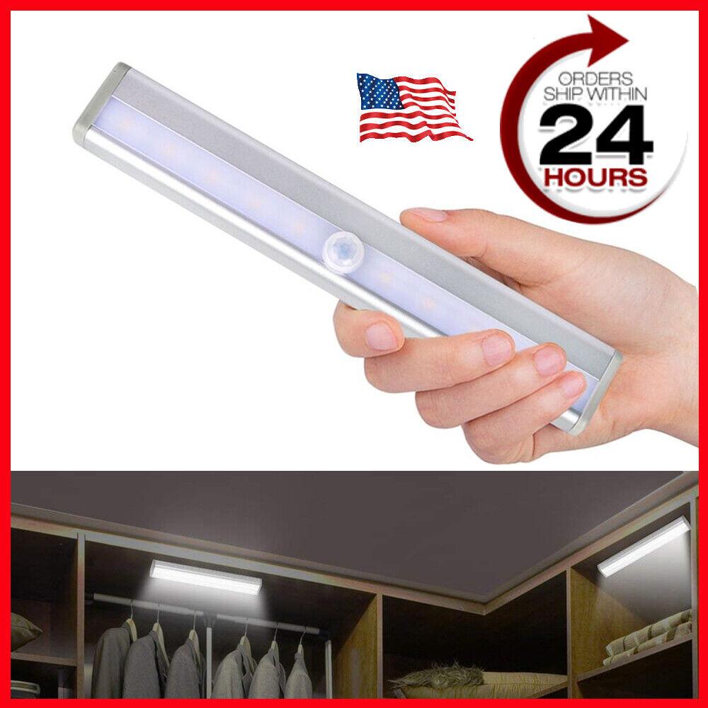 10 LED Portable Motion Sensor Closet Light Night Cabinet Bat