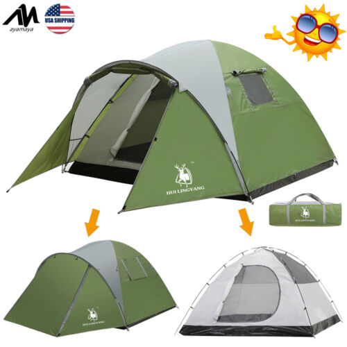 4 Person 2 Room Waterproof Double Layer Family Camping Tent