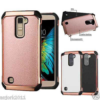Faux Leather Back Cover+Shockproof Eletroplated Chrome Case for LG -
