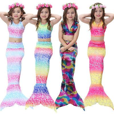 Kids Girls 3Pcs Mermaid Tail Swimming Bikini Sets Swimwear Swimmable Costumes](Mermaid Kids Costumes)