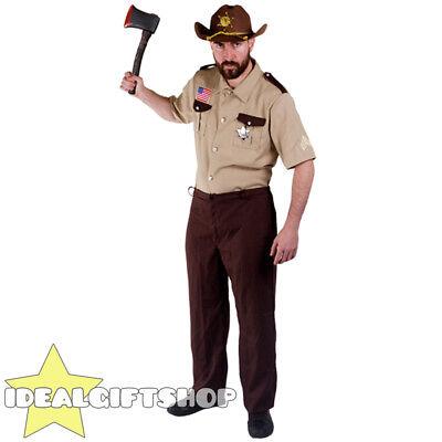SHERIFF ZOMBIE HUNTER HALLOWEEN MENS DEAD U.S COP FANCY DRESS COSTUME