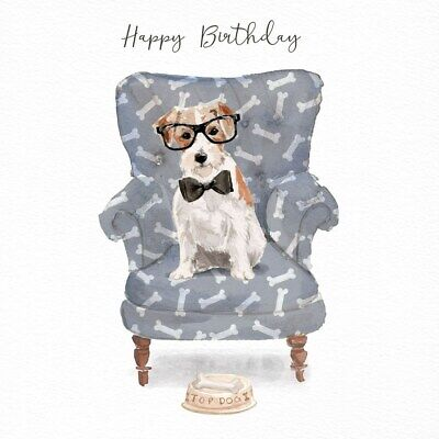 Jack Russell Birthday Card Top Dog in Armchair Luxury Greeting Card with Glitter