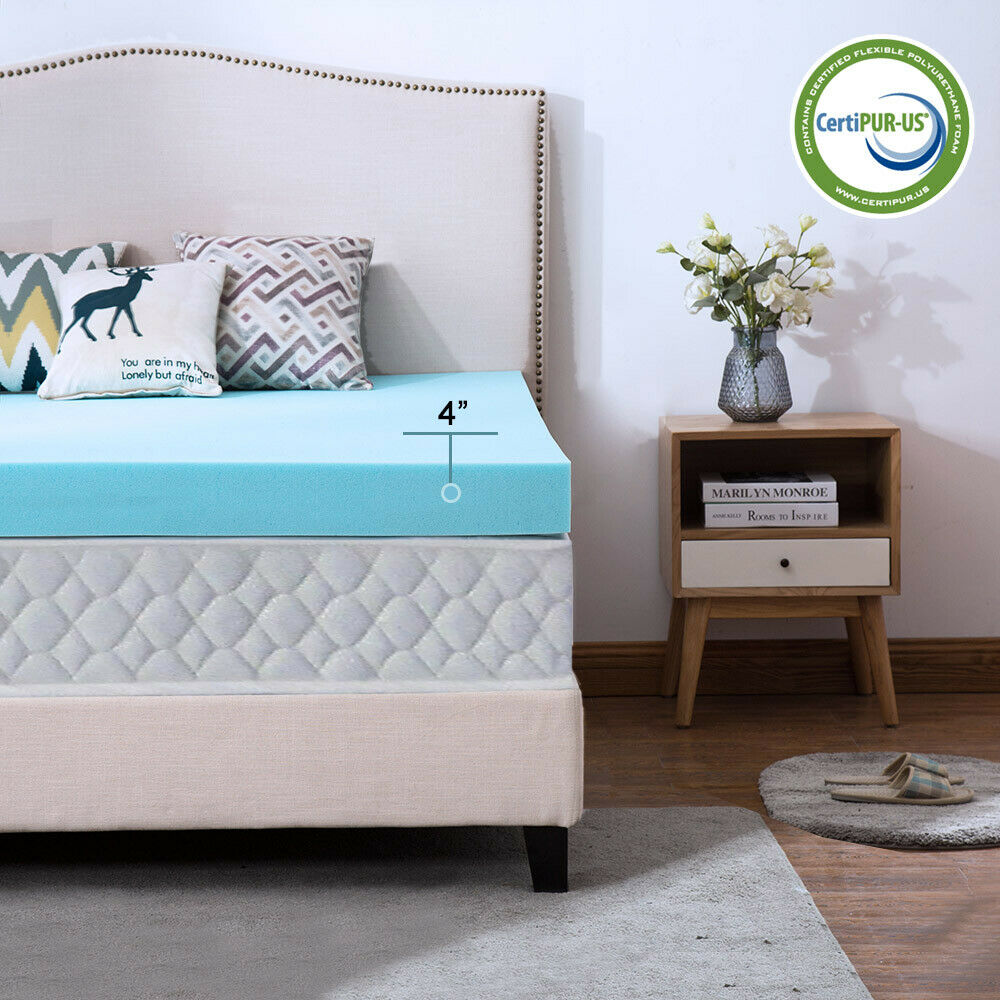Gel Blue 4 Inch Full Memory Foam Mattress Topper ...