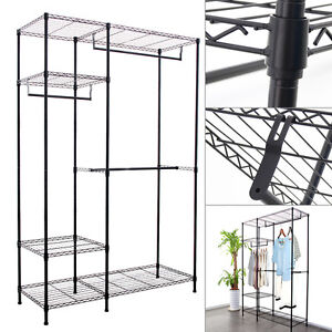 New Wardrobe Clothes Rack Double storage W/Hanging Rail Wire Metal Carbon Steel