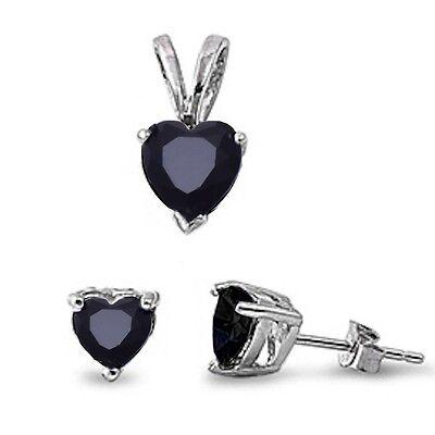 Black Onyx Heart .925 Sterling Silver Earring & Pendant Set