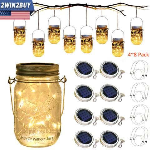 4-8Pack Solar Mason Jar Lid Lights Outdoor String Fairy Hang
