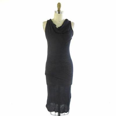 S - Isabel Benenato Navy Knit Racerback Sleevelss Cowl Neck Maxi Dress 0915WH