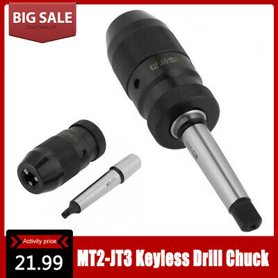 Self Tighten Keyless Lathe Drill Chuck Mt2- Jt3 Taper Arbor Live Center 1-16mm.