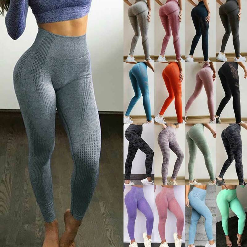 Women Seamless Leggings Gym Fitness Yoga High Waist Shark Exercise Pants Trouser