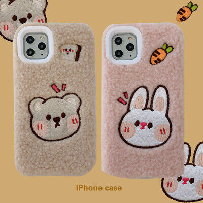 Cute Plush Rabbit Brown Bear Gift Christmas Back Case For iPhone 11 Pro Max XR ()